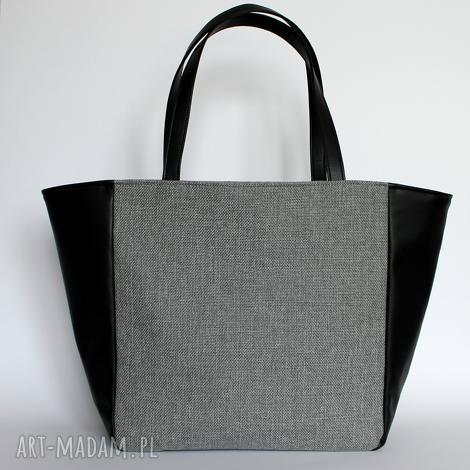 a22142030d8fa shopper bag worek - tkanina szara i skóra czarna