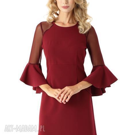 sukienka szerokimi rękawami i tiulowymi wstawkami bordowa, elegancka