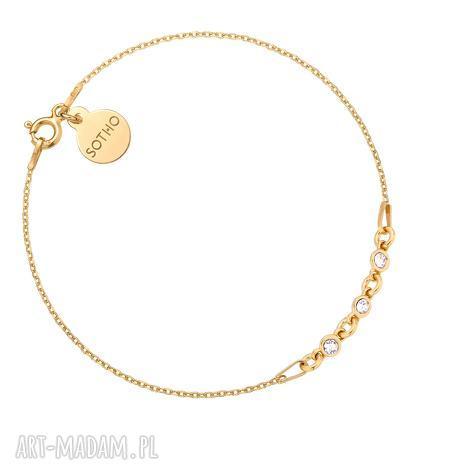 złota bransoletka z kryształkami swarovski crystal, złota, pozłacana
