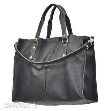 30-0015 czarna torebka skórzana z paskiem i kontrastowymi przeszyciami rook - modne