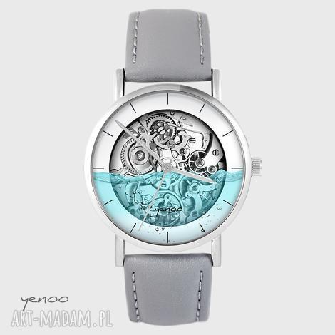 zegarki zegarek - wodny steampunk szary, skórzany, zegarek, bransoletka