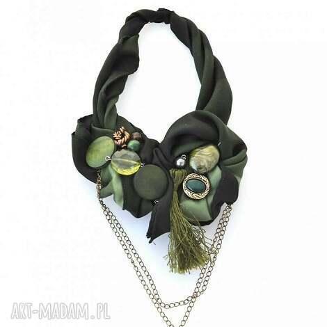 khaki naszyjnik handmade - naszyjnik, kolia, wisior, khaki, zielony, zielleń