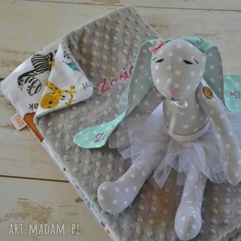 zestaw dla malucha na prezent króliczek i kocyk minky - tilda, krolik, koc, minky