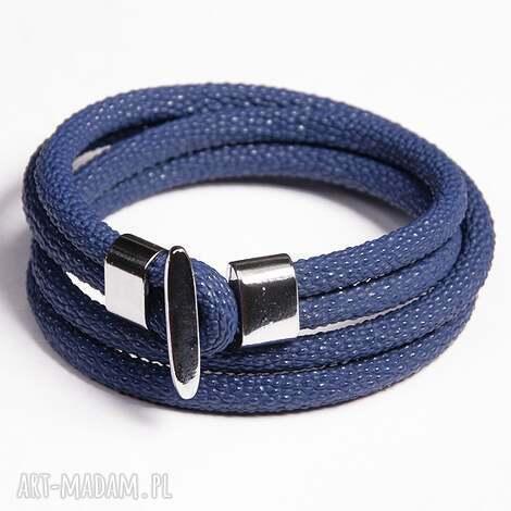 bransoletki podwójna bransoletka niebieska, rzemień, ekologiczny, minimalistyczna