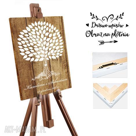 obraz drzewo wpisów 55x80 cm - rustykalny styl, obraz, drzewo, ślub, wesele
