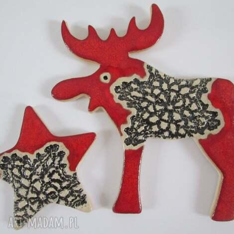 dekoracje zestaw dwóch magnesów świątecznych w czerwieni, dekoracje, świąteczne