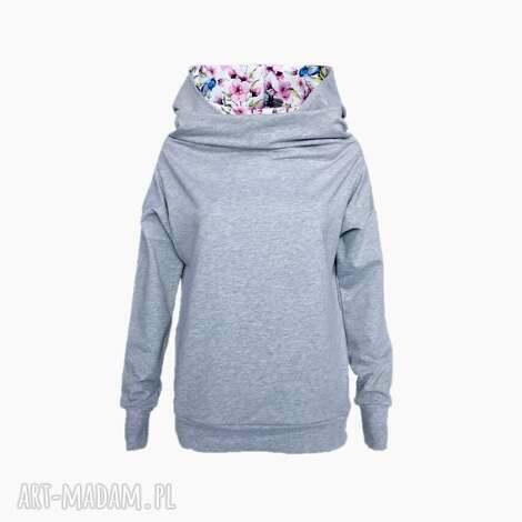 bluzy bluza z kominokapturem kwiaty - ptaki, bluza, komino kaptur, wiosenna