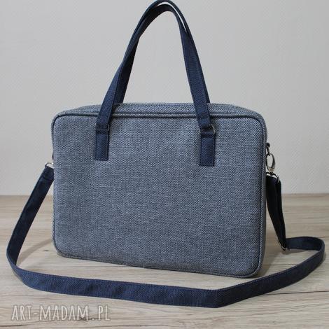 torba na laptop - tkanina grafit i granat denim - elegancka, nowoczesna, biuro, laptop