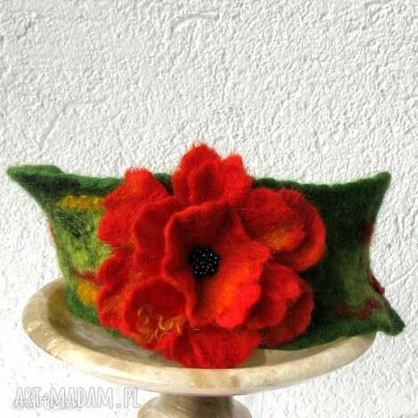 bransoletka, mankiecik, filc, wełna, filcowanie, kwiat, prezent