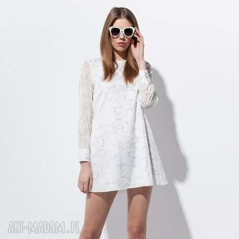 danell felicja tunika 38 biała, moda, wiosna, lato, bawełna, wakacje, kwiaty