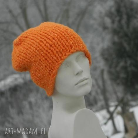 Aga made by hand: pomarańczowy grubas czapa z alpacą, grubaśna ciepła, dziergana, zimowa