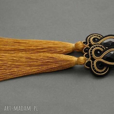 czarno-złote klipsy sutasz z chwostami, sznurek, elegnackie, wiszące, długie