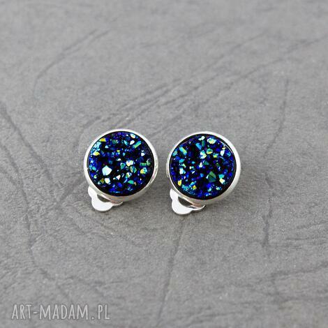 klipsy druzy niebieskie, klipsy, druzy, małe, okrągłe, lekkie, prezent biżuteria