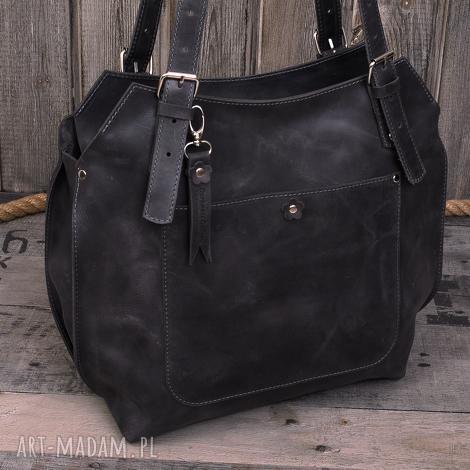 ręcznie robiona skórzana torebka szara, brązowa torebka, damska