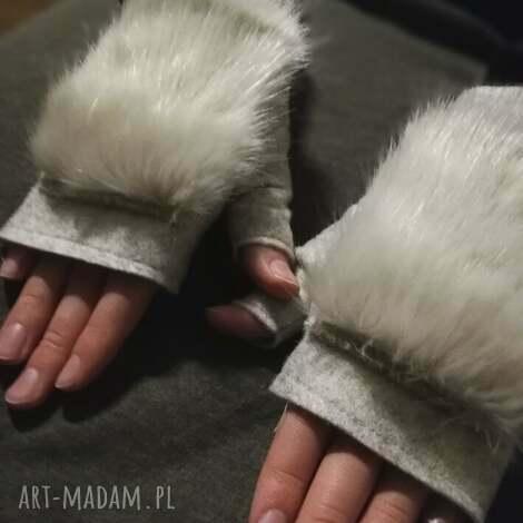 rekawiczki bezpalcowe z futerkiem bezowe - rękawiczki, bezpalcowe, filc, futro