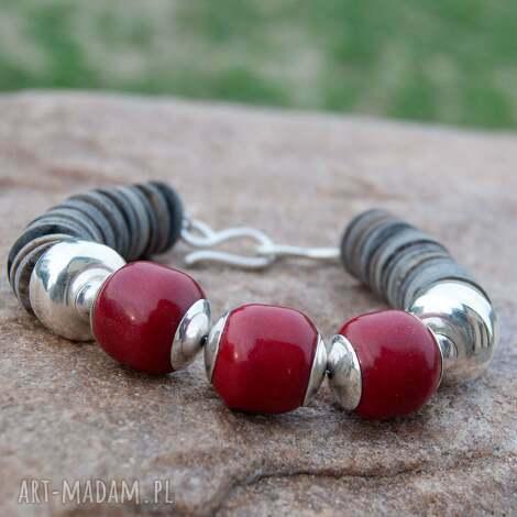 a486 czerwień korala bransoletka srebrna - bransoletka, zkoralem, czerwona, srebrna
