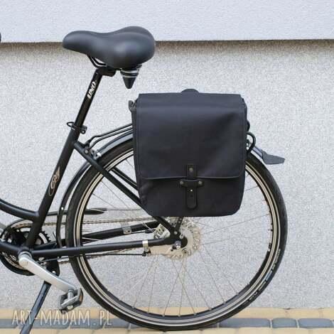sakwa rowerowa toskania czarna - rower, torba, praca, zakupy, handmade, prezent