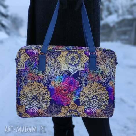 torba na laptop - tęczowe mandale, elegancka, laptop, prezent, święta