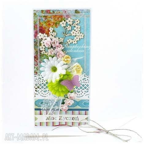 kartka urodzinowa z kwiatami - urodziny, kwiaty, koronka, kartka, motyl, koperta
