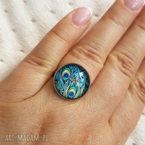pierścionek z kaboszonem nr 8 pawie oko, pierścionek, kaboszon szklany