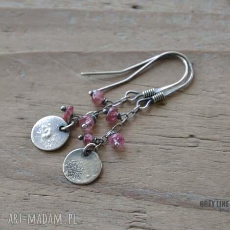 małe szlachetne - różowy turmalin - turmalin, srebrne, surowe, wiszące