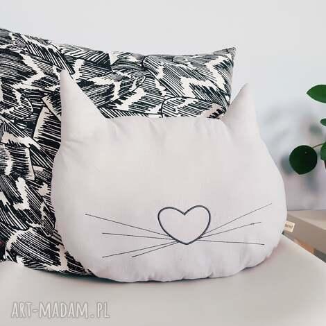 poduszki podusia kocia główka dwustronna gwiazdki, kot, kotek, poduszka, haft, szara