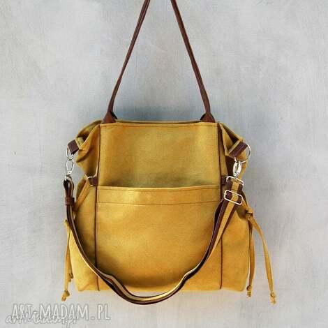 amber - duża torba shopper musztarda i brąz, prezent, modna, wygodna, niebanalna