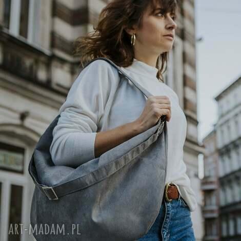 torebki szara torba worek z zamszu ekologicznego, torebka damska