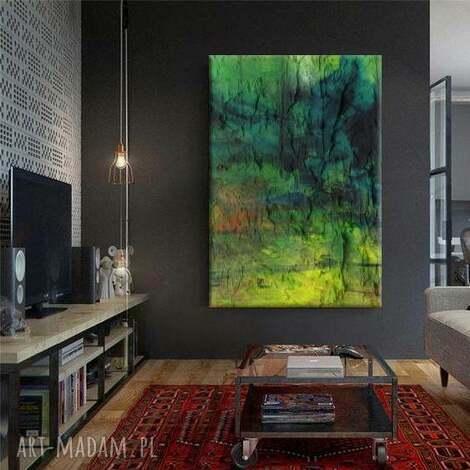 fresco - obraz strukturalny abstrakcyjny przeplatające się odcienie zieleni