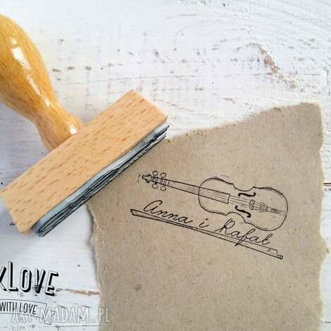 stempel ślubny skrzypce 25x60mm ex libris, ślub, stempel, wesele