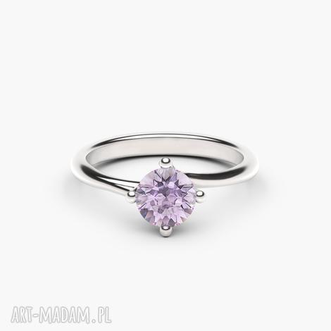pierścionek rosa białe złoto 585/ametyst, zaręczynowy, złoto, zaręczyny