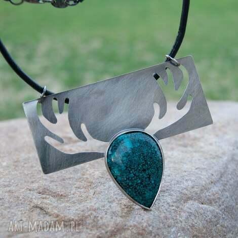 a484 z lasu -naszyjnik srebrny z chryzokolą - naszyjnik, jeleń, srebrny, elegancki
