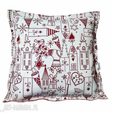 świąteczne malunki, poduszka, święta, bawełna, choinka, śnieżynka, skarpeta dom