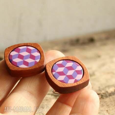 Foffaa, geometryczne spinki do mankietów, drewniane, drewno, prezent, kobieta