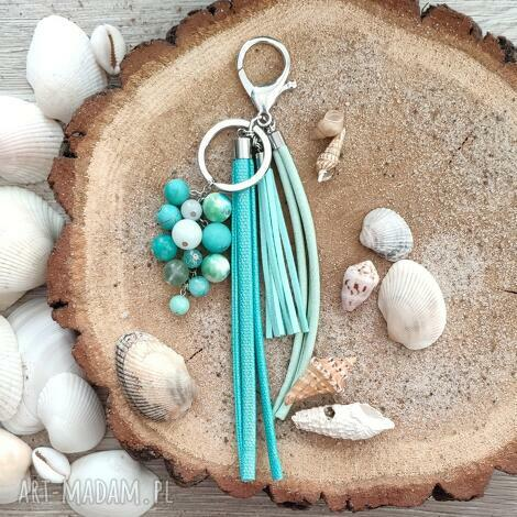 brelok z kamieniami naturalnymi - ocean blue, prezent dla kobiety, zawieszka