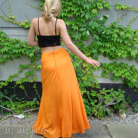 barska spódnica z kieszenią, pomarańczowa, spódnica, długa, letnia, kieszeń
