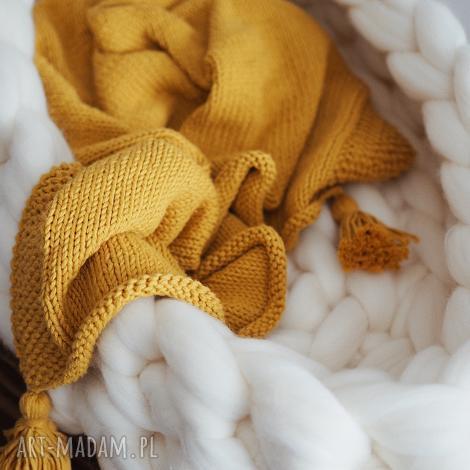 musztardowy kocyk z chwostami 100 bawełna, blanket dziecko, baby