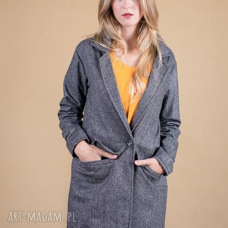 marynarka długa jesienna jodełka judith, marynarka, spodnie, bluza, kurtka