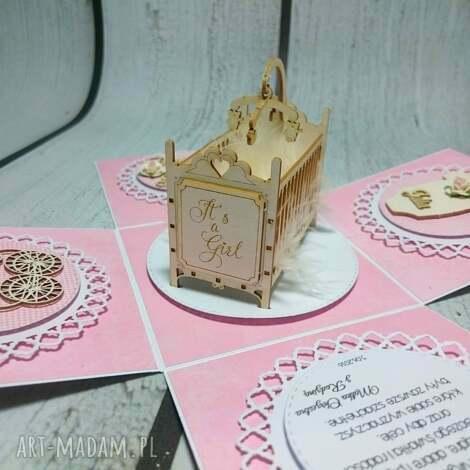 esplodujące pudełeczko z kołyską - prezent, pamiatka, chrzest, komunia