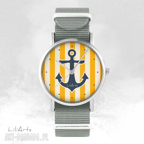 zegarki zegarek, bransoletka - kotwica, żółta szary, nato, zegarek
