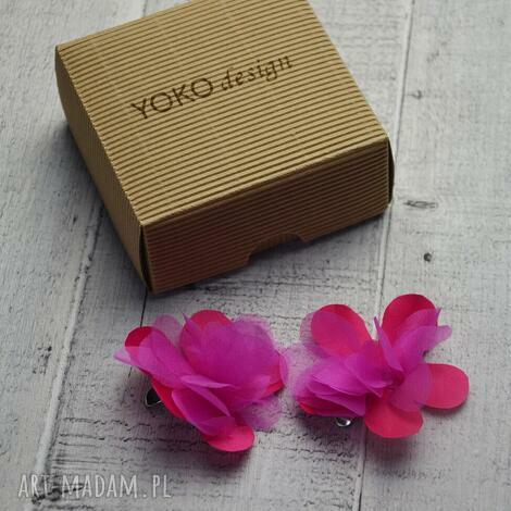 fuksjowe klipsy, kwiaty, jedwab ozdoby do butów, oryginalny prezent