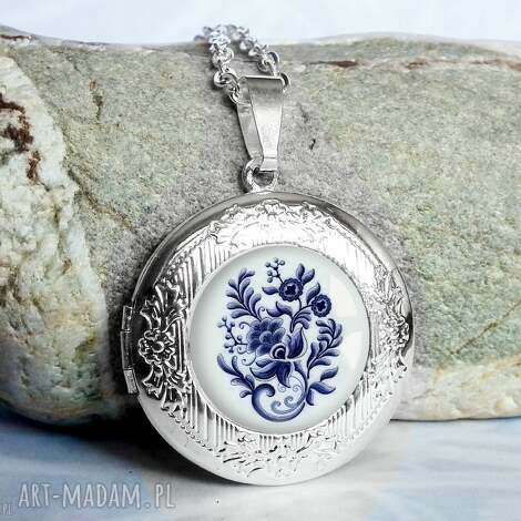 oryginalny naszyjnik otwierany na prezent blue folk - srebrny, sekretnik, medalion