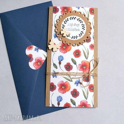 kartka ślubna polne kwiaty slim, ślub, ślubna, polne, łąka