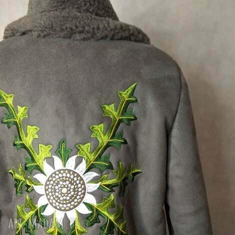 piękny kożuch folk design w hafty grafitowy