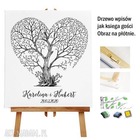księgi gości drzewo wpisów jako księga - obraz na płótnie 55x65 cm