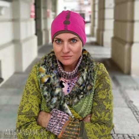 czapka damska amarant dziurawiec sportowa handmade - czapka, sportowa, etno, boho, rower