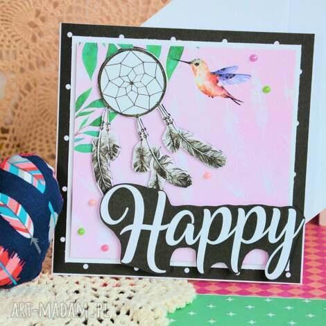 kartki kartka - happy 1, kartka, szczęśliwa, przesłanie, kobieta, koliber