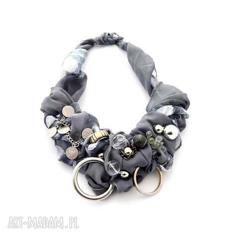 shades of grey naszyjnik handmade - naszyjnik, handmade, szary, srebrny, popiel