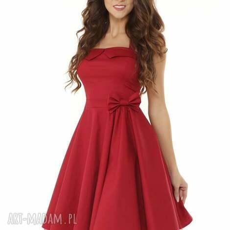 ella dora piękna rozkloszowana sukienka pin up bordowa, sukienka-retro