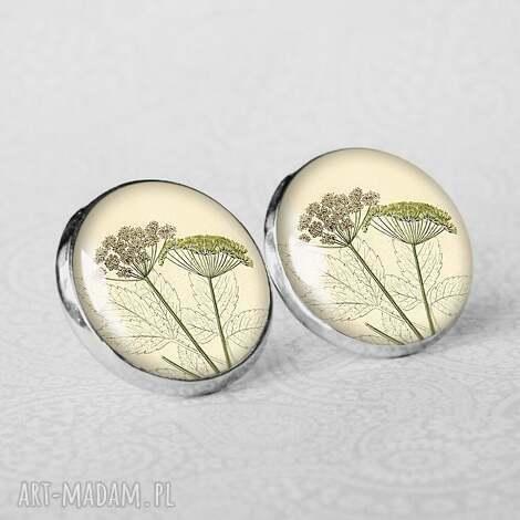 galavena kolczyki plant , lekkie, wkrętki, rośliny, jasne, pastelowe, srebrne